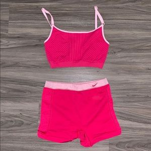 Nike Bright Pink Bra Top / High-Waisted Shorts Duo